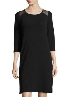 Neiman Marcus 3/4-Sleeve Scoop-Neck Side-Zip Dress