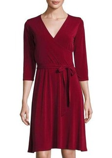 Neiman Marcus 3/4-Sleeve Solid Perfect Wrap Dress