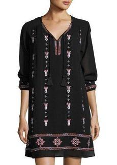 Neiman Marcus 3/4-Sleeve Split-Neck Embroidered Dress