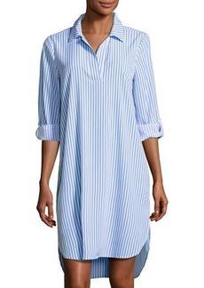 Neiman Marcus 3/4-Sleeve Striped Shirtdress