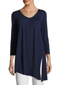 Neiman Marcus 3/4-Sleeve V-Neck Asymmetric Top