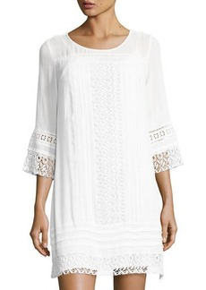 Neiman Marcus 3/4-Sleeves Crochet-Trim Dress