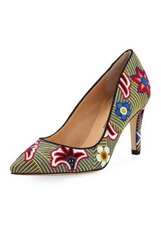 Neiman Marcus Agostina Floral-Embroidered Pump