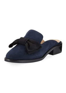 Neiman Marcus Aimy Suede Bow Slide Mule