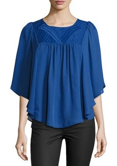 Neiman Marcus Angel Embroidered-Yoke Top