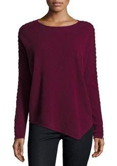 Neiman Marcus Asymmetric Cashmere Braided-Sleeve Sweater