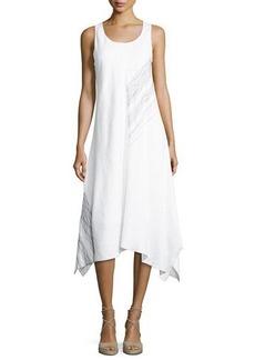 Neiman Marcus Asymmetric-Hem Embroidered Dress