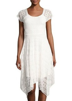 Neiman Marcus Asymmetric Raglan-Sleeve Lace Dress