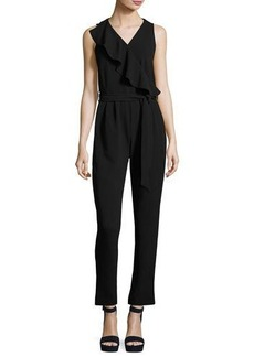 Neiman Marcus Asymmetric-Ruffle Belted Jumpsuit