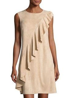 Neiman Marcus Asymmetric Ruffled Faux-Suede Dress