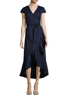 Neiman Marcus Asymmetric Ruffled Long Wrap Dress