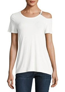 Neiman Marcus Asymmetric Short-Sleeve Top