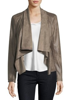 Neiman Marcus Asymmetric-Zip Faux-Leather Jacket