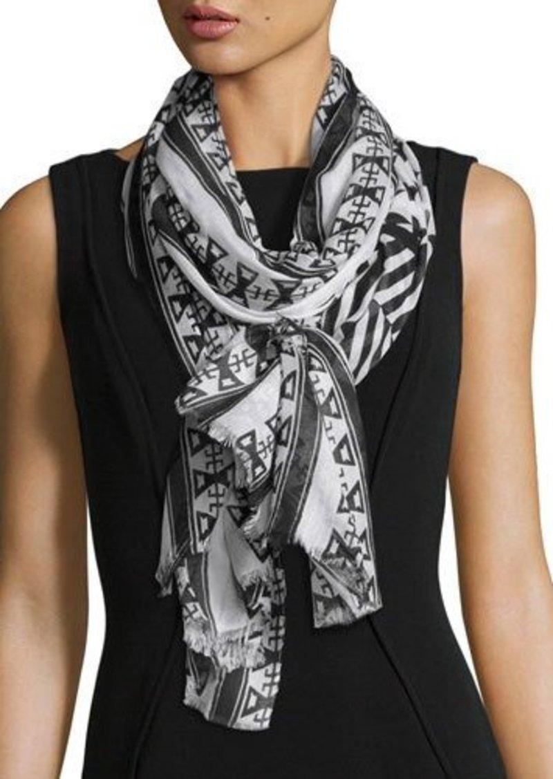 Neiman Marcus Aztec-Print Wrap Scarf