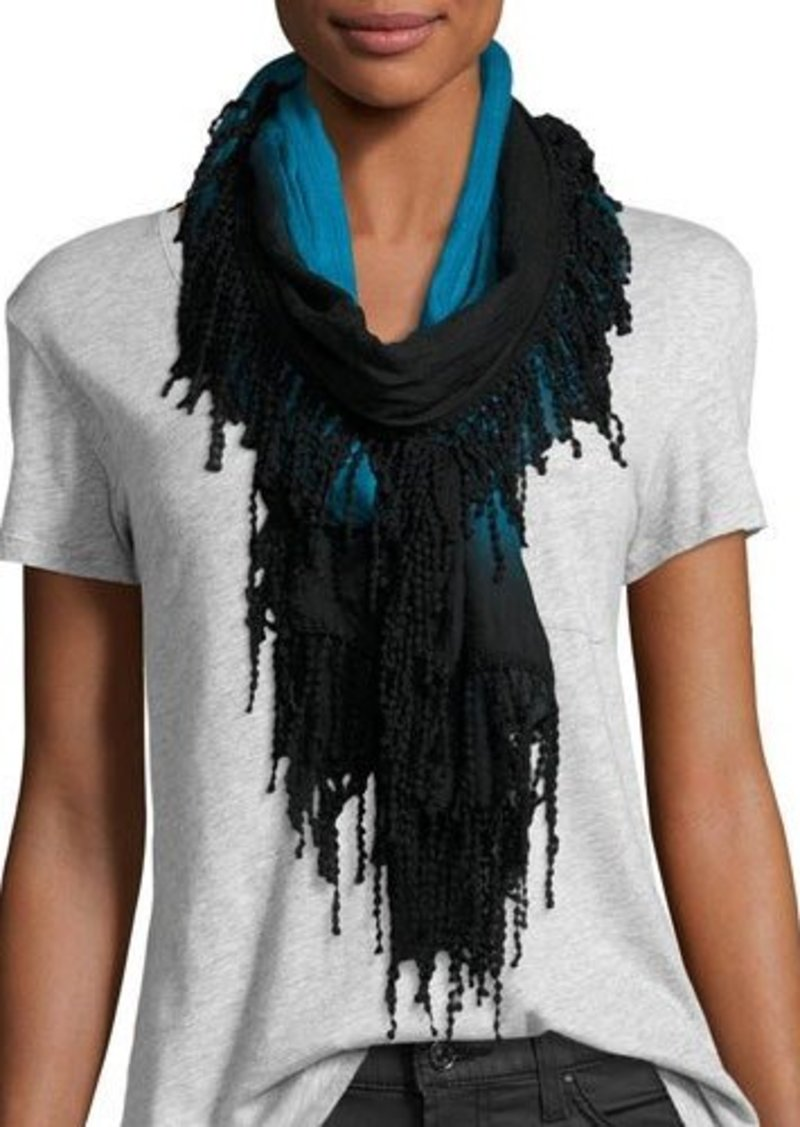 Neiman Marcus Ball-Fringe Ombre Wrap Scarf