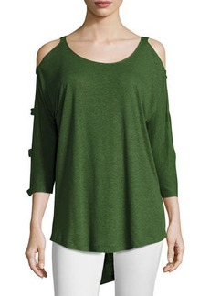 Neiman Marcus Banded-Sleeve Cold-Shoulder Top