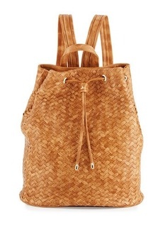 Neiman Marcus Basket-Woven Drawstring Bucket Backpack