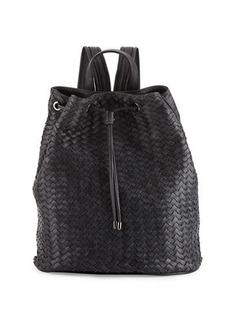 Neiman Marcus Basketweave Drawstring Bucket Backpack