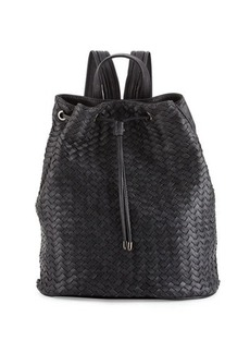 Neiman Marcus Basketweave Drawstring Bucket Backpack