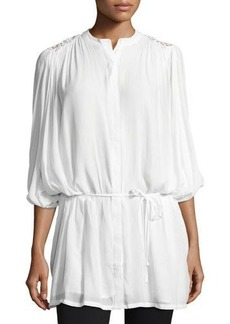Neiman Marcus Batwing-Sleeve Embroidered Blouse