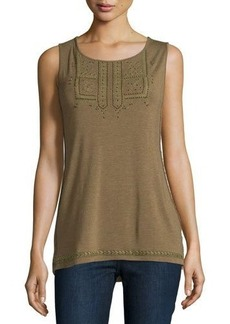 Design History Beaded Embroidered Scoop-Neck Tank