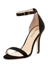 Neiman Marcus Beckah Velvet Ankle-Wrap Sandal