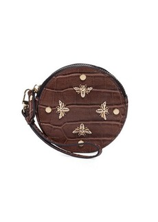 Neiman Marcus Bee Charm Croc-Embossed Faux-Leather Round Coin Purse