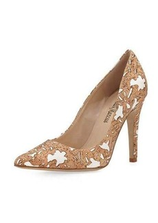 Neiman Marcus Beeche Cork Pointed-Toe Pump