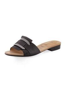 Neiman Marcus Belicia Leather Flat Slide Sandal