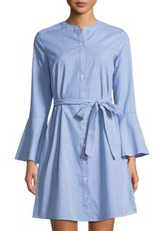 Neiman Marcus Bell-Sleeve A-line Striped Shirtdress