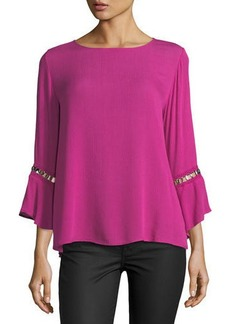 Neiman Marcus Bell-Sleeve Blouse w/ Hardware Detail