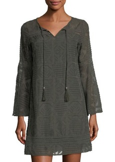 Neiman Marcus Bell-Sleeve Chiffon Shift Dress