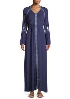 Neiman Marcus Bell-Sleeve Embroidered Maxi Dress