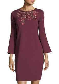 Neiman Marcus Bell-Sleeve Embroidered Shift Dress