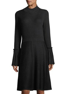 Neiman Marcus Bell-Sleeve Fit & Flare Knit Dress