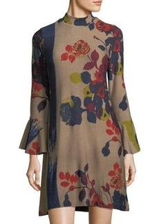 Neiman Marcus Bell-Sleeve Floral-Print Dress