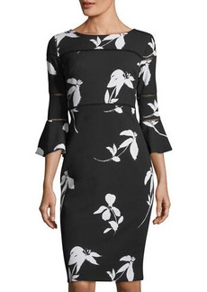 Neiman Marcus Bell-Sleeve Floral-Print Sheath Dress