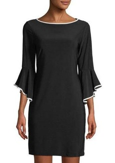 Neiman Marcus Bell-Sleeve Jersey Sheath Dress with Piping