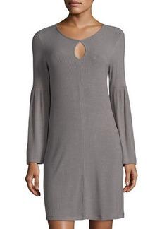 Neiman Marcus Bell-Sleeve Keyhole Jersey Dress