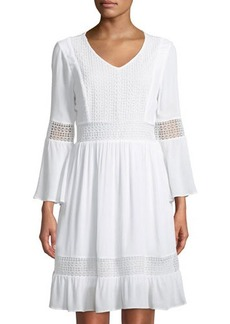 Neiman Marcus Bell-Sleeve Lace-Panel Dress