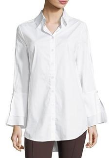 Neiman Marcus Bell-Sleeve Poplin Blouse