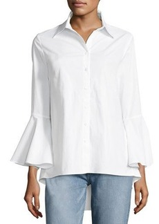 Neiman Marcus Bell-Sleeve Poplin Button-Front Tunic