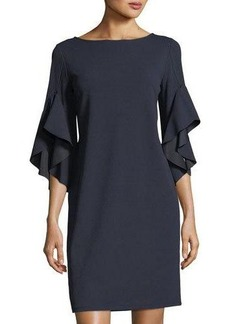 Neiman Marcus Bell-Sleeve Shift Dress