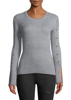 Neiman Marcus Bell-Sleeve Shimmer Sweater