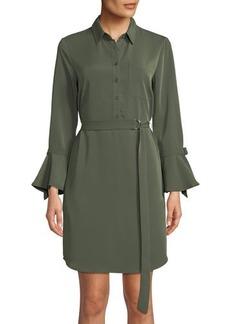 Neiman Marcus Belted Bell-Sleeve Shirtdress