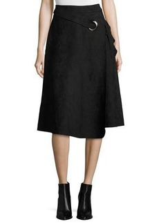 Neiman Marcus Belted Faux-Suede Skirt