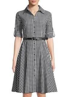 Neiman Marcus Belted Gingham Midi Shirtdress