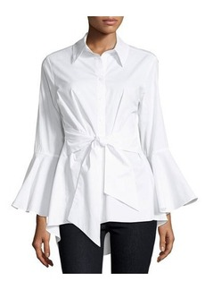 Neiman Marcus Belted Poplin Button-Front Blouse