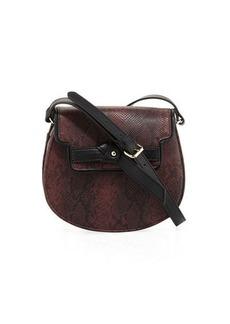 Neiman Marcus Belted Python-Print Saddle Bag