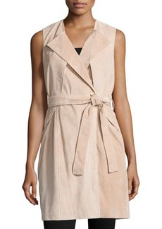 Neiman Marcus Belted Suede Trench Vest